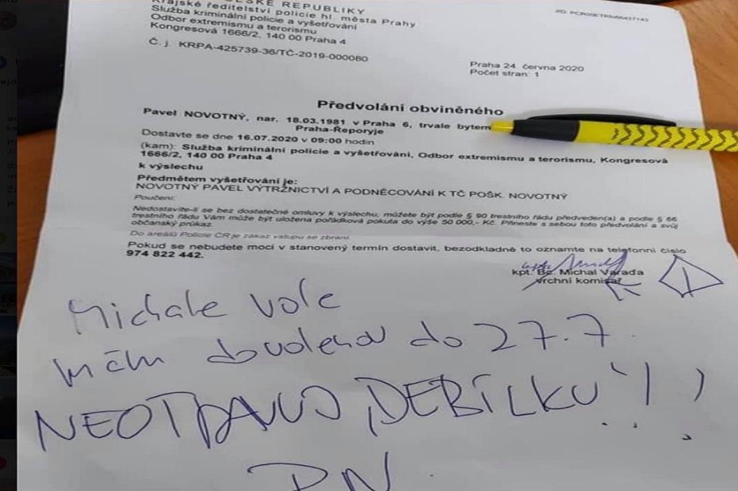 Hašek zveřejnil vzkaz pravicového politika občanům a právnímu státu?